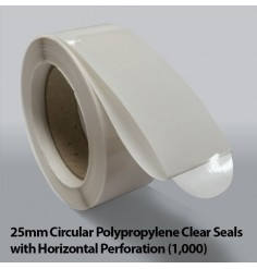 25mm Circular Polypropylene Clear Seals with Horizontal Perforation (1,000)