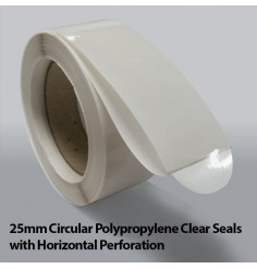 25mm Circular Polypropylene Clear Seals with Horizontal Perforation (10,000)