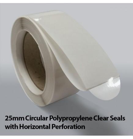 25mm Circular Polypropylene Clear Seals with Horizontal Perforation (10,000)