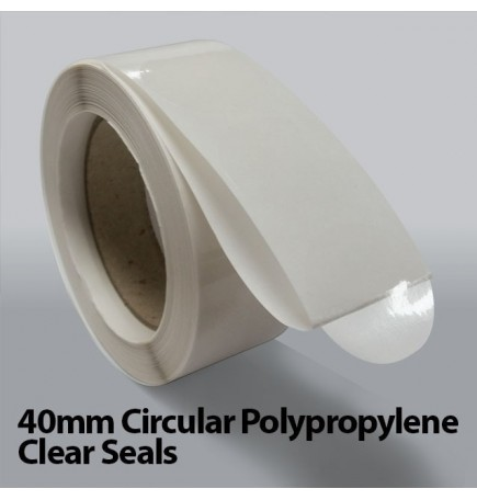 40mm Circular Polypropylene Clear Seals (10,000)